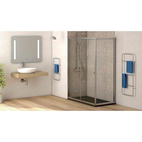 Mampara de ducha lateral fijo con cristal transparente templado de seguridad de 4mm modelo Catalonia ANCHO