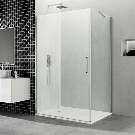 Mampara de ducha Open 1 puerta con lateral fijo, cierre imán-imán Medida de la puerta abatible: Rango de 60,6 a 62,1 cm, Rango del lat. fijo 76 a 79 cm