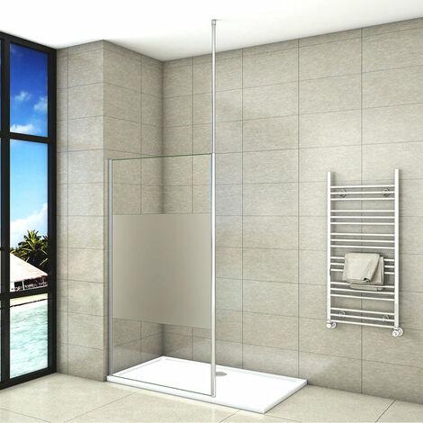 Mampara de ducha Panel Fijo con Barra a Techo, Cristal Templado Esmerilado Parcial Antical 8mm