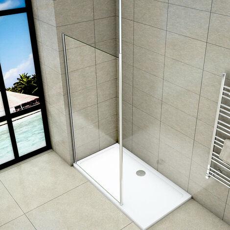 Mampara de ducha Panel Fijo con Barra a Techo, Cristal Templado Transparente Antical 8mm