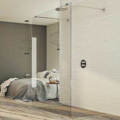 Mampara de ducha pared70 CM de vidrio transparente 8mm mod. Walk in Free H198