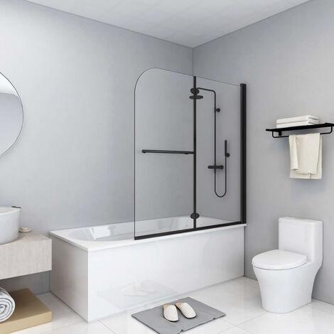 Mampara de ducha plegable 2 paneles ESG negro 120x140 cm