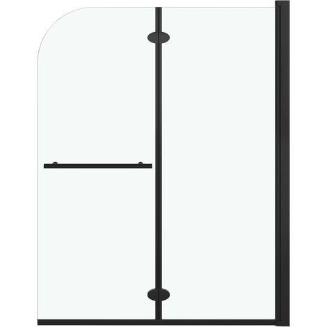 Mampara de ducha plegable 2 paneles ESG negro 95x140 cm