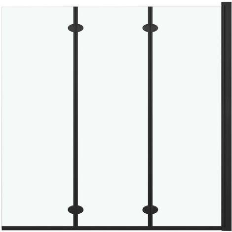 Mampara de ducha plegable 3 paneles ESG 130x138 cm negro