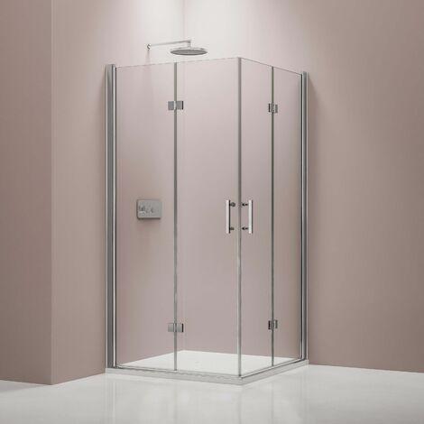 Mampara de ducha plegable, en cristal auténtico NANO 6 mm, EX213, 90 x 90 x 195 cm para instalación en ángulo