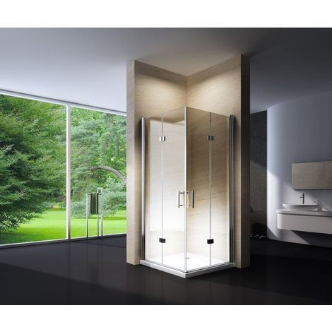 Mampara de ducha plegable, en cristal NANO, EX213, 90 x 90 x 195 cm, sin plato de ducha