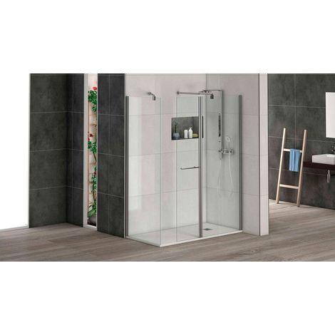 Mampara de ducha puerta abatible para acoplar a panel fijo con cristal transparente templado de seguridad de 6mm modelo Cadiz ANCHO