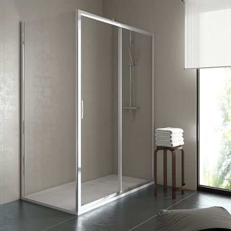 Mampara de ducha rectangular 2 fijos+1 puerta 78-80x108-110