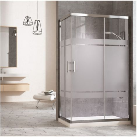 Mampara de ducha rectangular con cierre en ángulo. 2 puertas correderas y dos laterales fijos a los lados. Cristal serigrafiado