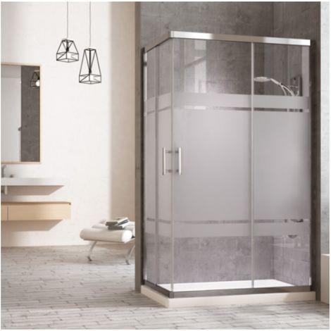 Mampara de ducha rectangular con cierre en ángulo. 2 puertas correderas y dos laterales fijos a los lados. Cristal serigrafiado perfíl negro 90X170CM