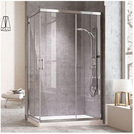 Mampara de ducha rectangular con cierre en ángulo. 2 puertas correderas y dos laterales fijos a los lados. Cristal transparente