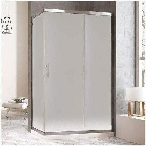 Mampara de ducha rectangular con un lateral fijo y un frontal con puerta corredera y lateral fijo. reversible Cristal Translúcido