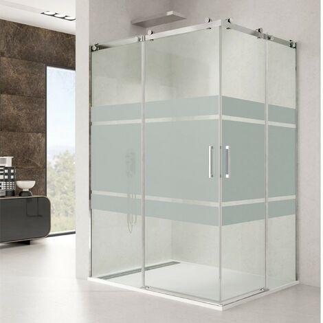 Mampara de ducha ROTARY angular Decorado: Frost