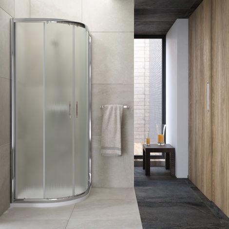 Mampara de ducha semicircular 2 fijos + 2 puertas correderas 78-80x78-80 transparente