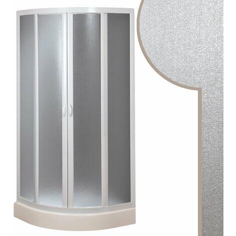 Mampara de Ducha Semicircular 80x80 CM de Acrílico mod. Smart con Apertura Corredera