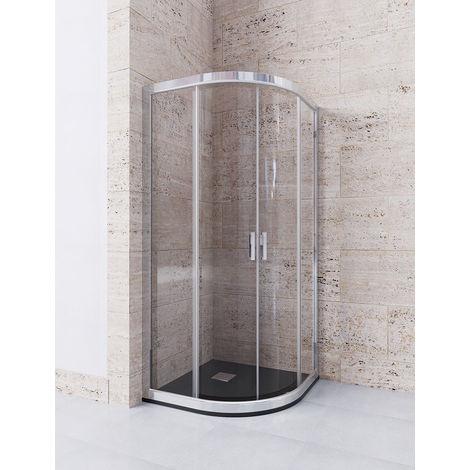 Mampara de ducha Semicircular de 2 hojas fijas y 2 puertas correderas. - Modelo DELIA