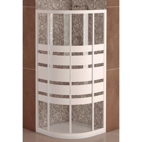 Mampara de Ducha Semicircular Modelo SICILIA(2 Hojas Fijas 2 Correderas)Cristal Decorado de 4mm y Perfil Aluminio  Blanco