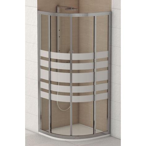 Mampara de Ducha Semicircular PIAMONTE 2 Hojas Fijas 2 Correderas, Cristal serigrafiado 4mm, Perfil Aluminio Cromado