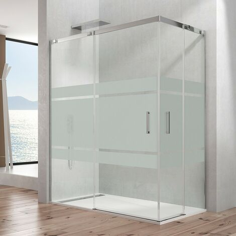 Mampara de ducha TEMPLE angular Decorado: Frost