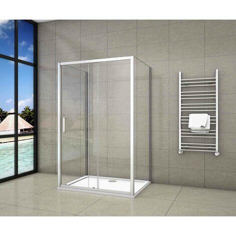 Mampara de ducha,frontal hojas correderas + dos panel fijo lateral Cristal Templado 5mm