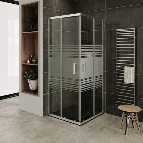 Mampara de duche vidro parcialmente satinado de seguridad 6mm, altura: 190 cm DK77 con plato de ducha - 100x100 cm