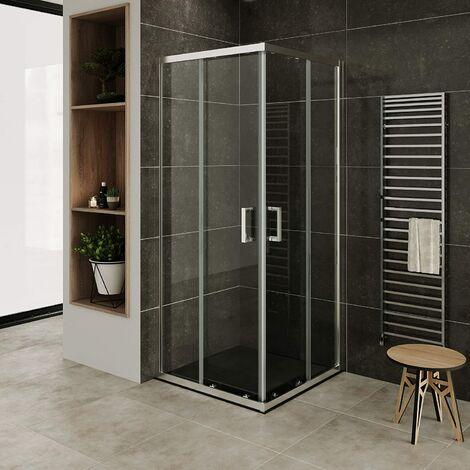 Mampara de duche vidro transparente de seguridad 6mm, altura: 185 cm DK77 com plato de ducha - 100x100 cm