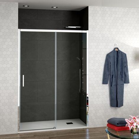 Mampara Ducha ALICANTE Frontal 1 fijo + 1 puerta corredera vidrio transparente