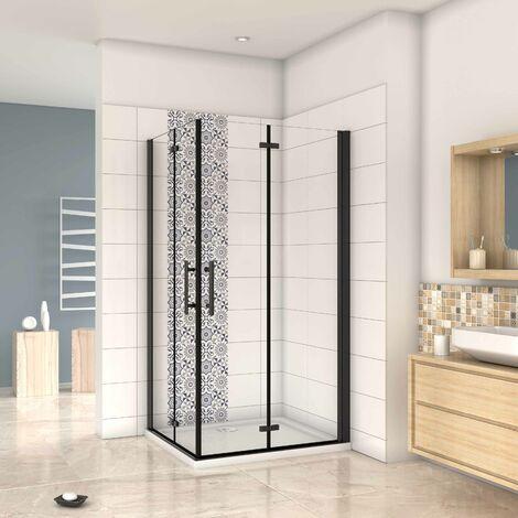 Mampara ducha Cabina de ducha 4 puertas plegables con perfil negro ,estilo industrial, 5 mm cristal templado, Easyclean. Altura 190 cm