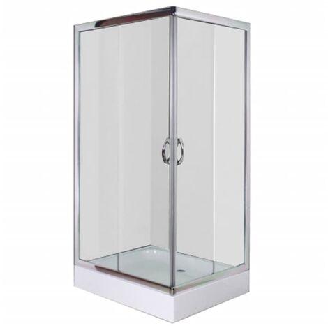 Mampara ducha con placa rectangular 100x80x185 cm