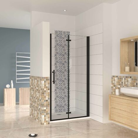 Mampara ducha frontal baño dos puerta plegable con perfil negro ,estilo industrial, 5 mm cristal templado, Easyclean, altura 190 cm