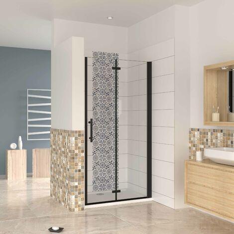 """main image of """"Mampara ducha frontal baño dos puerta plegable con perfil negro ,estilo industrial, 5 mm cristal templado, Easyclean, altura 190 cm"""""""