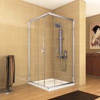Mampara Ducha SORIA2 Angular 2 fijos + 2 puertas correderas vidrio transparente (6 mm)
