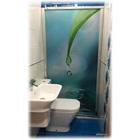 Mampara enrollable para bañera con cajón izquierda y cierre derecha imagen gota de agua