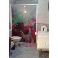 Mampara enrollable para ducha con cajón derecha y cierre izquierda imagen tulipanes lilas