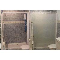 Mampara enrollable para ducha con cajón izquierda y cierre derecha