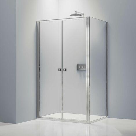 Mampara fija y ducha abatible EX416-2 vidrio transparente de 6 mm NANO - 120x90 x 195 cm