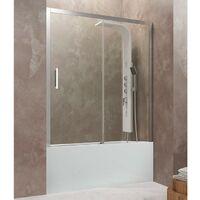 Mampara frontal de bañera AKTUAL de fijo + corredera Cristal: Transparente