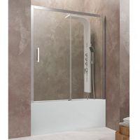 Mampara frontal de bañera AKTUAL de fijo + corredera Cristal: Transparente rango 136 - 142 cm