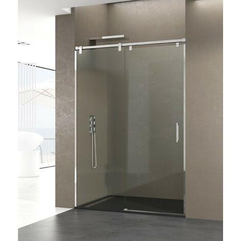 Mampara Frontal de ducha FUTURA fijo + corredera  Decorado: Transparente