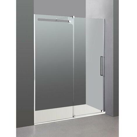 Mampara Frontal de ducha VETRUM en acero de fijo + corredera