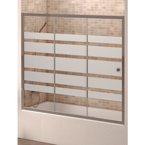 Mampara Frontal Para Bañera  Modelo MICHIGAN. Una Hoja Fija+Dos Hojas Correderas, Cristal 6mm Serigrafíada, Aluminio Cromo