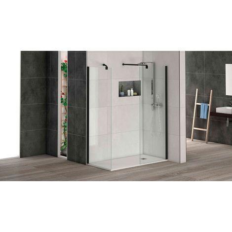 Mampara Lamu, panel fijo, cristal de 6mm, perfil negro, expansión 2 cm corrector desnivel, brazo de ducha soporte incluido. 80cm