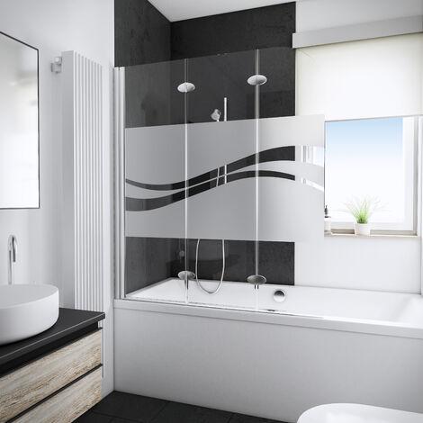 Mampara para bañera plegable, 125 x 140 cm, cristal de 5 mm, mampara de baño de 3 paneles abatibles Schulte, serigrafía liane, perfil aspecto aspecto cromado