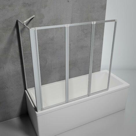 Mampara para bañera plegable, sin perforación, cristal transparente de 3 mm, mampara de baño de 2 paneles abatibles para pegar + 1 panel lateral Schulte, perfil aluminio, 87 x 70 x 120 cm