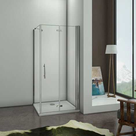 "main image of ""Mamparas Angular Puerta Plegable con Panel Fijo Cristal Antical 6mm"""