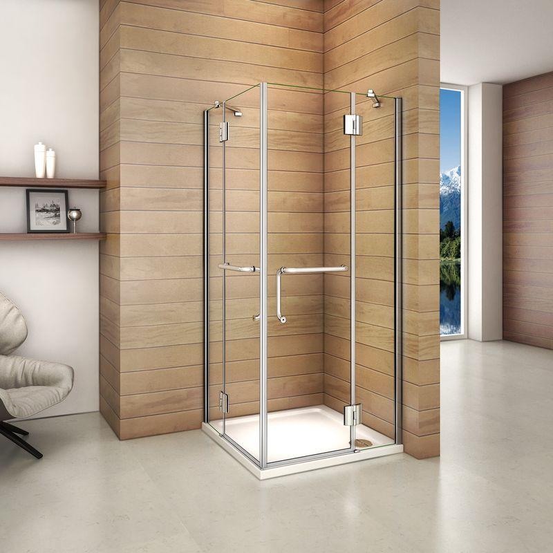 Cabina de ducha mampara de ducha corredera puerta 6mm Easyclean cristal Aica 80x80cm