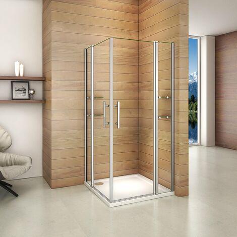 Mamparas de Ducha Puerta Abatible con Estante y Repisa de Vidrio Cristal 6mm Doble Puerta 80x80x195cm