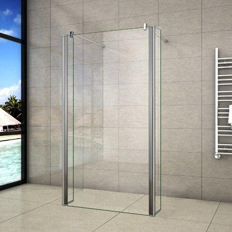 Mamparas de Ducha Panel Fijo 100cm con Doble Panel Lateral Abatible 40cm, Cristal Templado 8mm Antical con 2 Barras 90cm