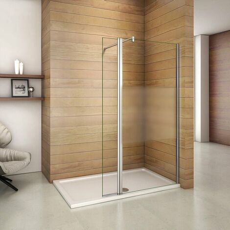 Mamparas de Ducha Panel Fijo 110cm con Lateral Abatible 40cm, Cristal Esmerilado Antical 8mm con Barra 140cm