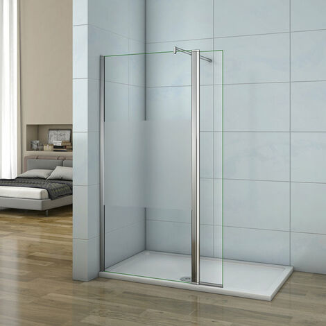 Mamparas de Ducha Panel Fijo 140cm con Lateral Abatible 40cm, Cristal Esmerilado Antical 8mm con Barra ajustable 70cm-120cm